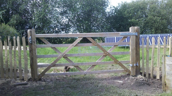 Sawn gate with cleft picket fencing
