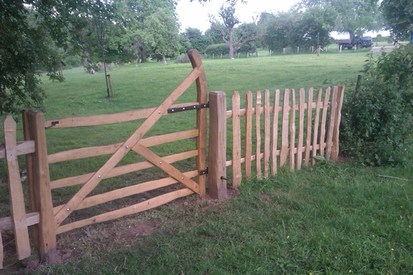 Cleft Chestnut Shropshire gate with blacksmith forged furniture