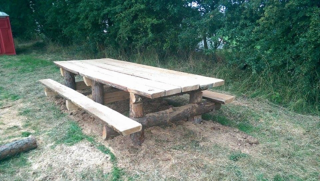 Rustic log bench