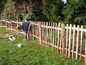 Nailed or Mortised Frame, Cleft Picket Fencing