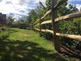 Cleft Chestnut mortise framed  Post and rail fencing
