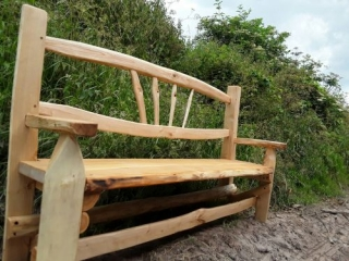 Sawn and cleft Chestnut fan back rustic bench with arms