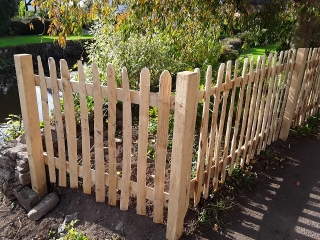 Chestnut picket fencing with sawn square posts