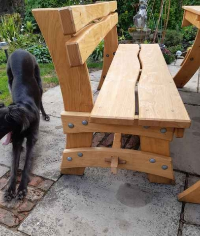Cleft Chestnut trestle bench with back
