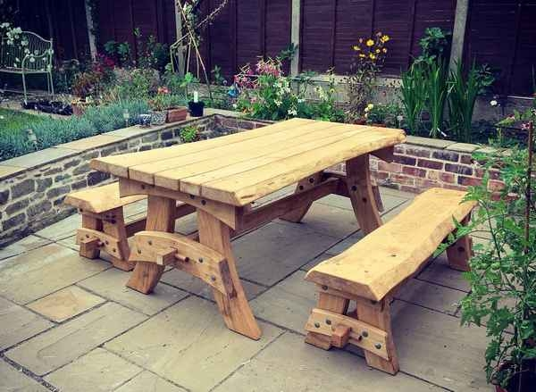 Cleft and sawn Chestnut trestle bench set
