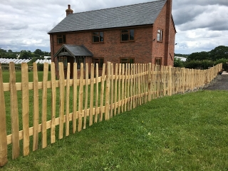 Rustic Cleft Chestnut picket fencing in Herefordshire