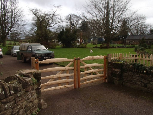 Bespoke sawn Oak and cleft Chestnut gates with blacksmith forged furniture