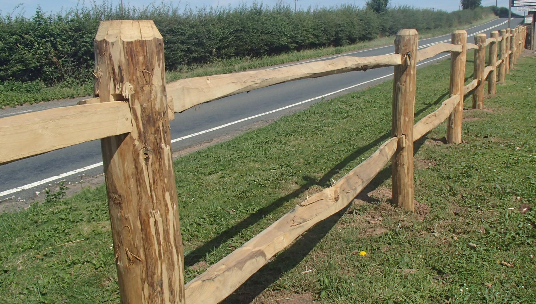 Mortised Estate grade cleft Chestnut post and rail at the entrance to Leighton Court, looking the other way ;-)