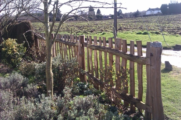 wide picket fencing on a mortised Chestnut frame