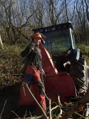 Aly skidding logs with our Valmet 6100 forestry tractor