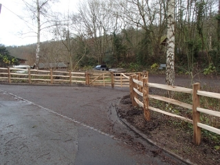 Cleft Chestnut post and rail at the Green Wood Centre