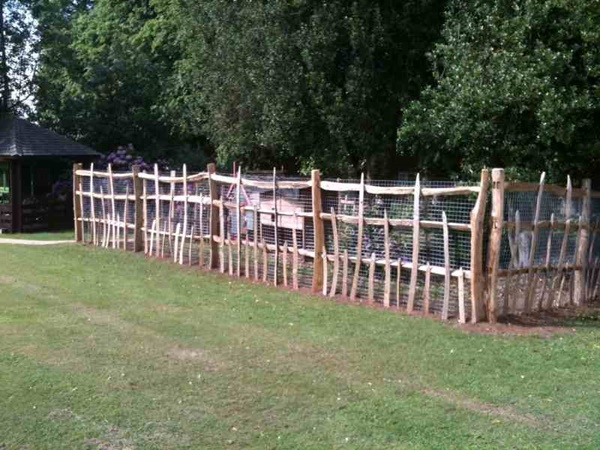 Traditional deer park fencing using cleft Chestnut
