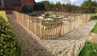 Rustic cleft Paling fence and wicket gate